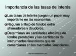 importancia de las tasas de inter s