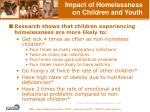 impact of homelessness on children and youth