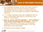 lack of affordable housing