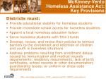 mckinney vento homeless assistance act key provisions