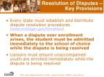 resolution of disputes key provisions