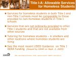 title i a allowable services for homeless students