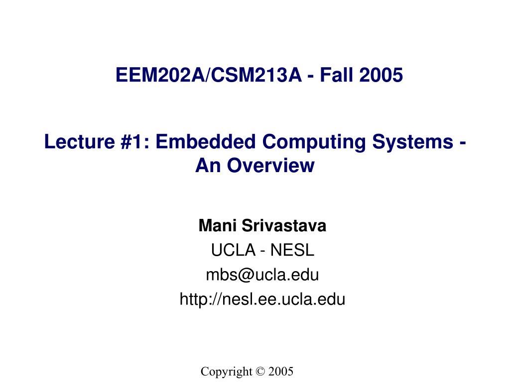 lecture 1 embedded computing systems an overview l.