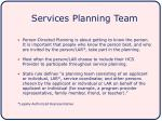 services planning team