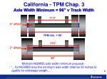 california tpm chap 3 axle width minimum 96 v track width