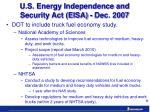u s energy independence and security act eisa dec 2007