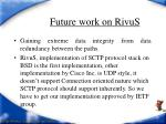 future work on rivus