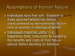 assumptions of human nature