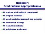 reminder need cultural appropriateness