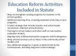 education reform activities included in statute