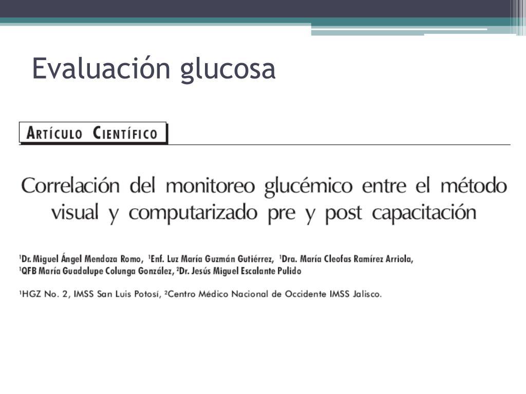 Evaluación glucosa