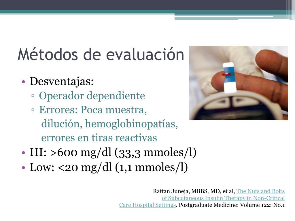Métodos de evaluación glucosa