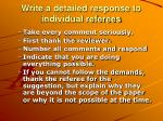 write a detailed response to individual referees