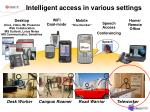 intelligent access in various settings