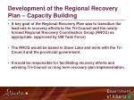 development of the regional recovery plan capacity building