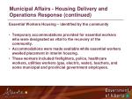 municipal affairs housing delivery and operations response continued