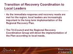 transition of recovery coordination to local leaders