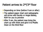 patient arrives to 2 nd 3 rd floor