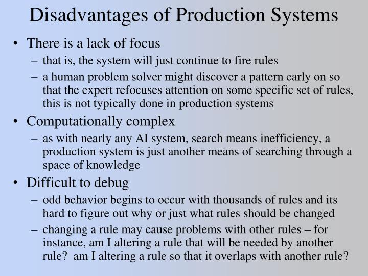 Disadvantages of Production Systems