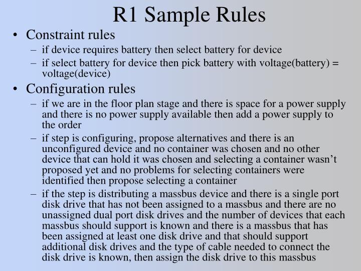 R1 Sample Rules