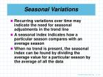 seasonal variations