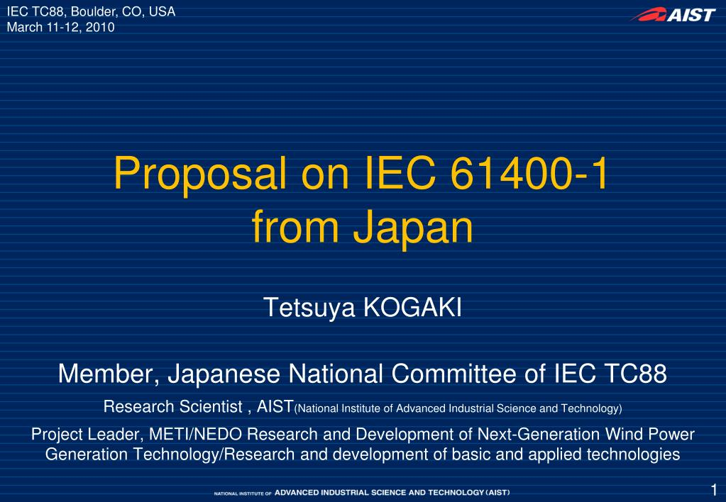 proposal on iec 61400 1 from japan l.