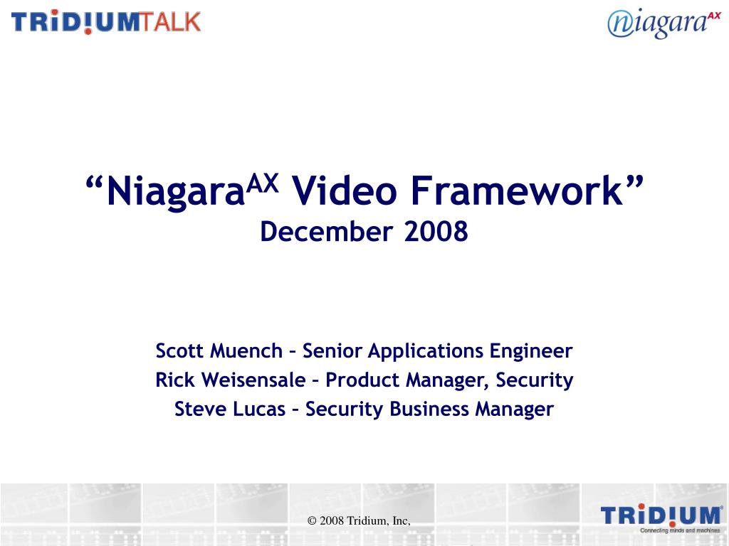 niagara ax video framework december 2008 l.