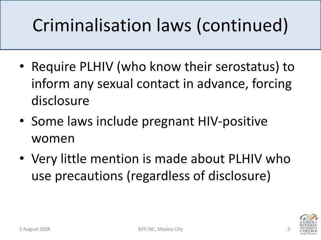 Criminalisation laws (continued)