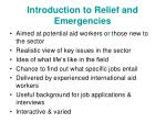 introduction to relief and emergencies
