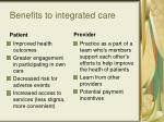 benefits to integrated care34