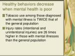 healthy behaviors decrease when mental health is poor