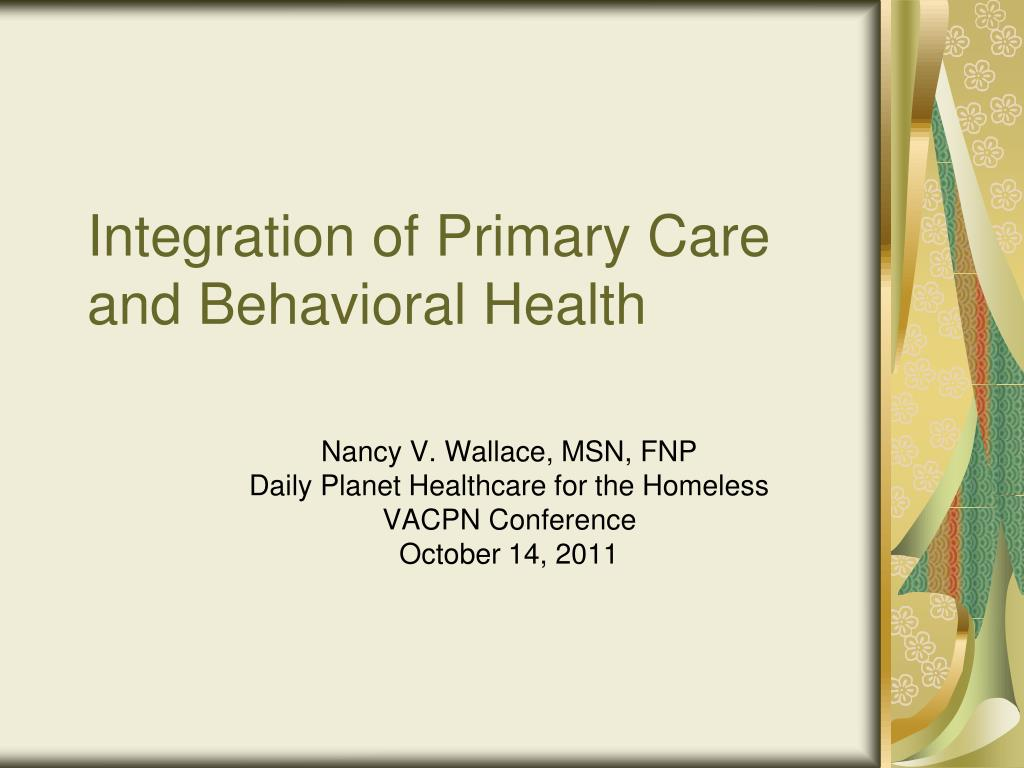 integration of primary care and behavioral health l.