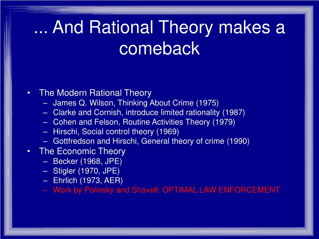 ... And Rational Theory makes a comeback