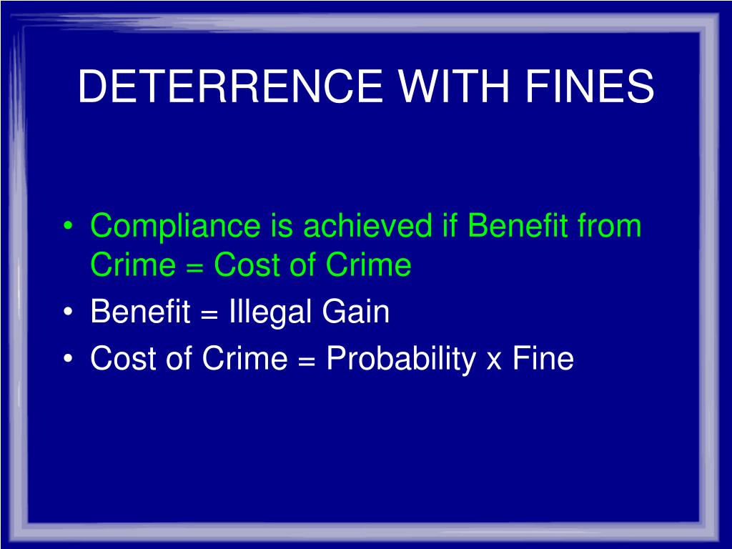 DETERRENCE WITH FINES