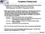 acceptance testing cont