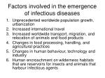 factors involved in the emergence of infectious diseases