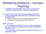 scheduling guidance inclusion teaching