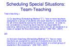 scheduling special situations team teaching
