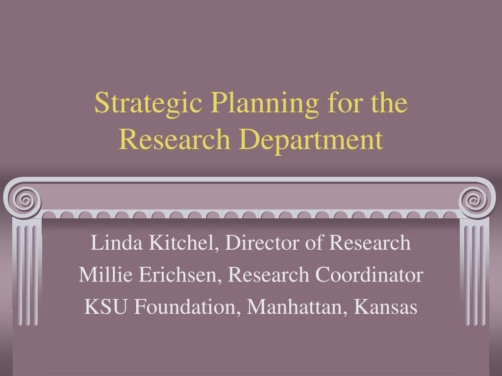 strategic planning for the research department l.