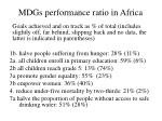 mdgs performance ratio in africa