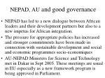 nepad au and good governance