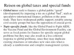 reisen on global taxes and special funds