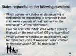 states responded to the following questions