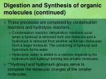 digestion and synthesis of organic molecules continued