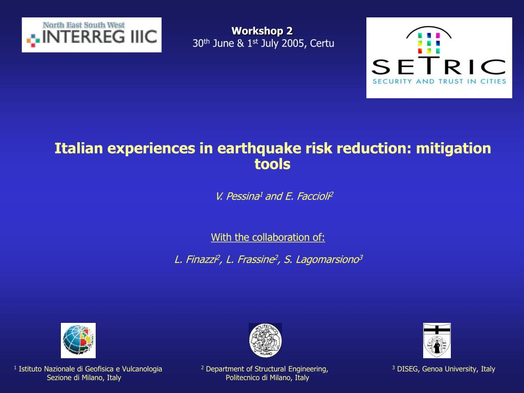 PPT - Italian experiences in earthquake risk reduction: mitigation