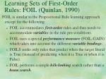 learning sets of first order rules foil quinlan 1990