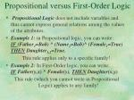 propositional versus first order logic