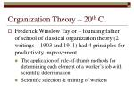 organization theory 20 th c