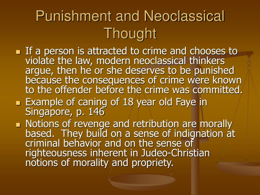 Punishment and Neoclassical Thought