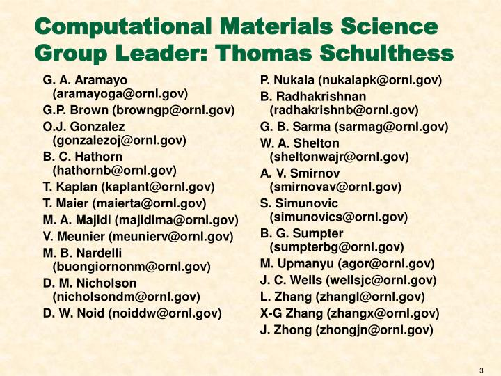 Computational materials science group leader thomas schulthess